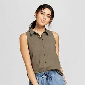 Universal Thread Sleeve Button Down Olive Blouse